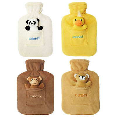 2l Large Rubber Hot Water Bottle With Warm Fleece Fur Animal Cover 2 Litre