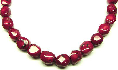 "15.5"" Red Bamboo Coral Pebble Nugget ~20-24 Beads 15x(18-20)mm K1617"
