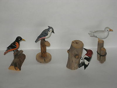Carved Wood Bird Mini Sculptures - Woodpecker / Bluejay