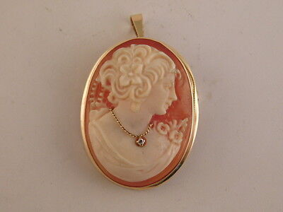 14K Gold Carved Shell Cameo Pin Pendant Diamond Necklace Brooch Italy Italian