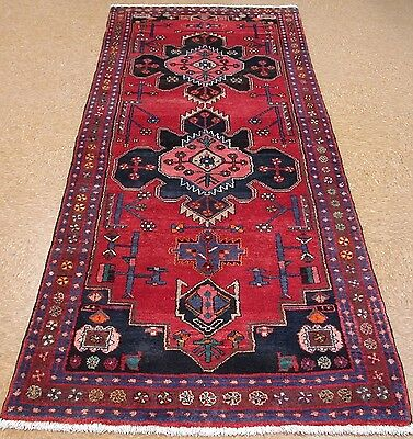 PERSIAN BROUJERD Hand Knotted Wool RED NAVY BROWN Oriental Rug RUNNER 4 x 10