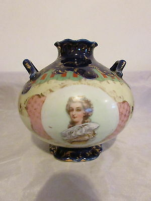 Antique Japan Nippon Porcelain Handled Portrait Vase Marie Antionette dow sie 30