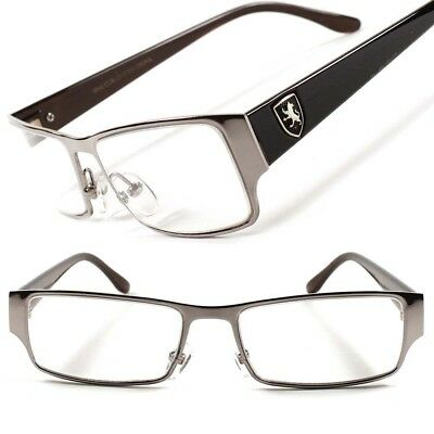 Stylish Silver Rectangle Prescription Rx Frame Mens Womens Clear Lens EyeGlasses