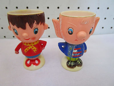 Retro Vintage Noddy & Big Ears Egg Cups,1960's Era, Made in Hong Kong
