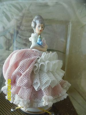 Vintage   Dresden  Lace Porcelain Pink Lady  Figurine With Original Box-Germany