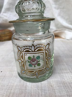 Vintage Apothecary Jar Swiss With Hand Painted Rose Ground Glass Lid Switzerland