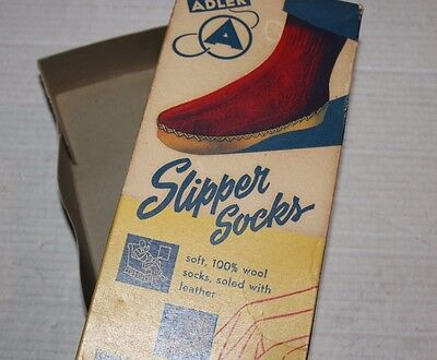 JcPenny Adler Slipper Socks 100% Wool Socks Soled With Leather Ohio Box Only Vtg