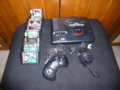 Sega Genesis Model 1 w/ Controller, Hookups & 12 Games (NHL 94, MK1) - Tested
