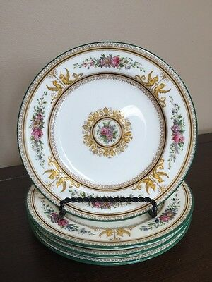 Set of 4 Wedgwood Columbia W595 Bread and Butter Plates - Medallion, Green Trim