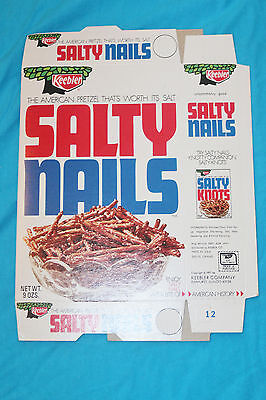 VINTAGE 1971 KEEBLER SALTY NAILS PRETZEL BOX - UNUSED -  9 oz