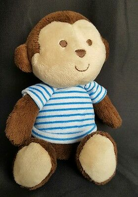 """Child Of Mine (Carters) Plush Monkey Rattle Brown/Blue &White Striped Shirt 8"""""""
