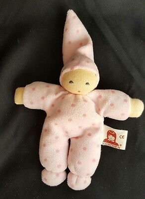 Rare Vintage NANCHEN Plush Toy Baby Girl Infant Rattle Made In Germany