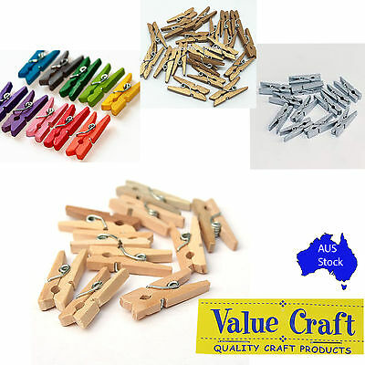 Mini Wooden Pegs Natural Gold Coloured 25mm Craft Baby Shower Clothespin Small
