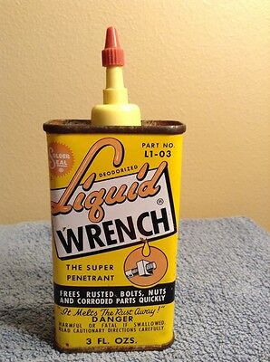 Vintage 1960s Liquid Wrench SUPER OIL Advertising Tin Can! 3 oz. Handy Oiler!