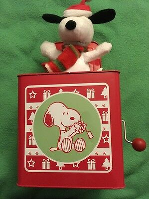 Peanuts Snoopy Jack in The Box 2014 Hallmark Musical Walking Christmas Animated