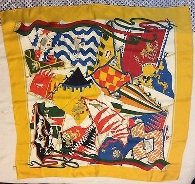 Yellow/Red/Blue Silk Flag-Print Vintage Foulard/Scarf @ GUCCI