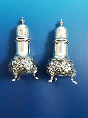 "Sterling Silver Salt and Pepper Shakers with Floral Design  5""  Not Weighted"