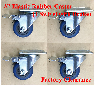 """3"""" (75mm) Elastic Rubber Castor Wheels, 4 Swivel with Brake, Factory Clearence"""