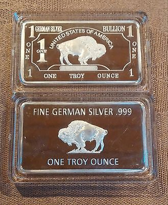 (2)  1 Troy oz German Silver Buffalo Collectible Art Bar W/CASE      (al22077)
