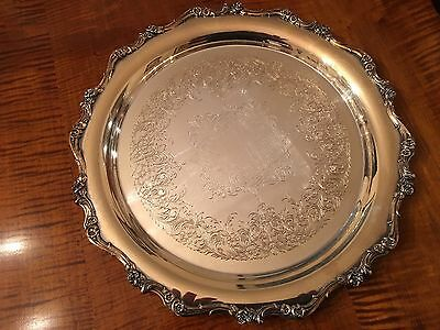 """Vintage 12"""" Silver Plate """"American Rose"""" Tray"""