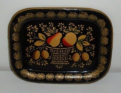 Vintage Tole Painted Tin Tray (8 x 6-1/4 Inches)