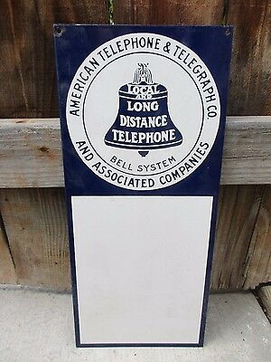 "Vintage American Telephone & Telegraph 18"" x 8"" Porcelain Sign Bell System Nice!"