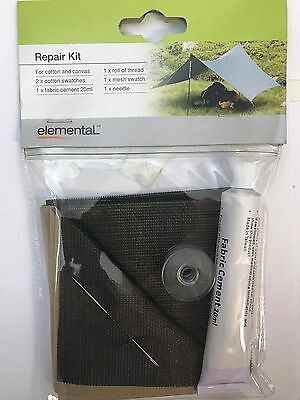 New cotton and canvas repair kit with fabric cement glue, needle & thread