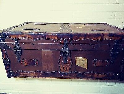 Antique Vintage Steamer Trunk Leather Canvas Slat Wood Chest Coffee Table