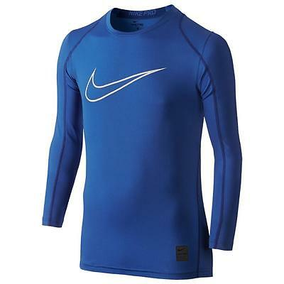 NEW Nike Boy's Youth Nike Pro Combat HyperCool HBR Fitted Kids LS Top 739405 480