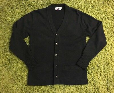 Vintage Broadway Mills Los Angeles 1950-60's Cardigan sweater size 40 Navy