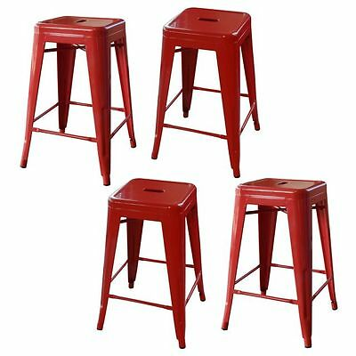 Amerihome Loft Red 24 Inch Metal Bar Stool 4 Piece Bs24redset