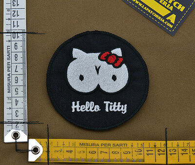 "Ricamata / Embroidered Patch ""Hello Titty"" Black with VELCRO® brand hook"