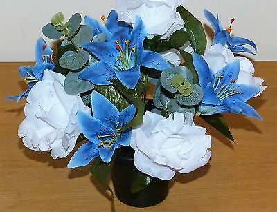Artificial Flowers  Tiger Lilys/ Roses / Spray For Cemetery Grave  Pot /r/ Price