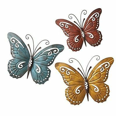 3 Piece Metal Erfly Wall Art Set Fence Sculpture Outdoor Patio Home Decor