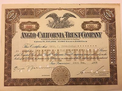 1929 Anglo-California Trust Co. Stock Certificate San Francisco Great Depression