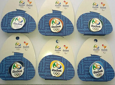 Rio Olympic Games 2016 Pin Badges Set Of 6 On Backing Cards London 2012