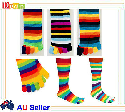 Mens WOMENS GIRLS Cotton KNEE HIGH TOE SOCKS Rainbow Stripe Party Costume Ball