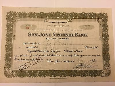 1929 San Jose National Bank Stock Certificate California Issued to Paul Masson!