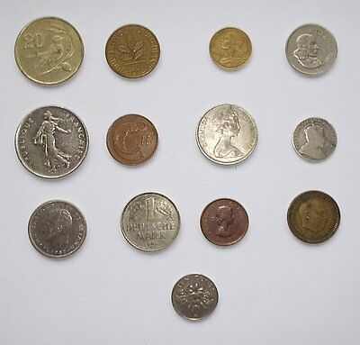 Foreign Coin Collection : 13 X Assorted Coins of Europe, Canada etc