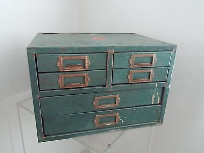 Vintage Metal 6 Drawer Small Parts WARDS Cabinet - Tool Box - Storage Organizer
