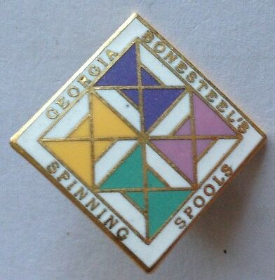 Georgia Bonesteels Spinning Spools Quilters Pin Badge Rare Vintage (F5)