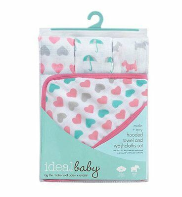 ideal baby Hooded Towel and Washcloth Set (Pink) by the makers of aden + anais