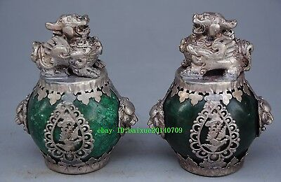 Delicate China Silver Dragon Inlaid Jade Hand Carved Pair Lion Statue