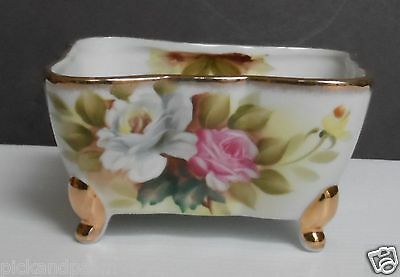 Vintage Hand Painted Porcelain Cigarette Box Bowl Candy Dish White Pink Roses