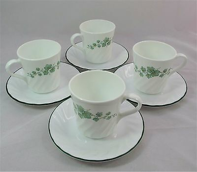 Corelle Corning Ware Callaway Ivy Green Leaves Cups & Saucers Euc Look!