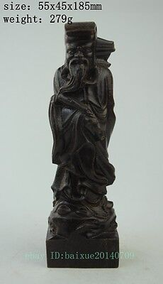 Chinese Old Wood 100% pure Hand-Carved Eight Immortals zhangguolao Statue