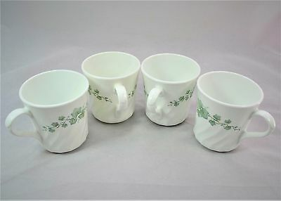 CORELLE CORNING WARE CALLAWAY IVY GREEN LEAVES Set of 4 CUPS EUC LOOK!