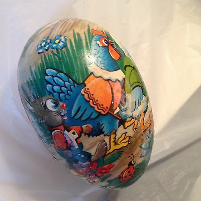 Huge Vtg Paper Mache Easter Egg Candy Container Rabbit Chicken Duck West Germany
