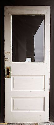 "30""x78"" Antique Wood Wooden Exterior Side Back Entry Door Glass Lite Pane Window"