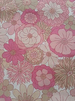 Vintage retro St Michael 70s pink funky floral double king flat sheet J1